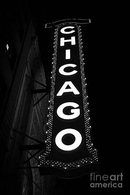 Chicago Theatre Photograph - The Chicago Theater Sign Im Black And White by Paul Velgos