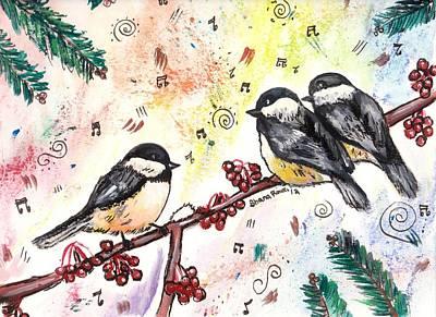 Painting - The Chickadee Trio by Shana Rowe Jackson