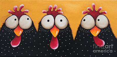 Chicken Portrait Wall Art - Painting - The Chicken Coop by Lucia Stewart