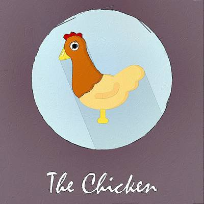 Painting - The Chicken Cute Portrait by Florian Rodarte