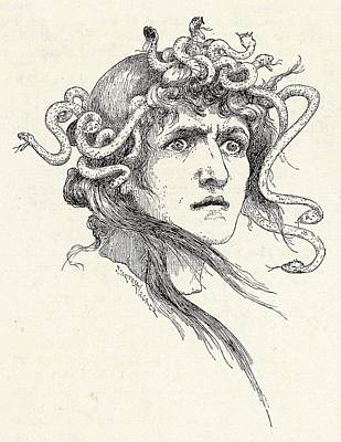 Gorgon Drawing - The Chief Of The Gorgons, Her  Face by Mary Evans Picture Library