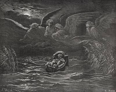 Baby Angel Drawing - The Child Moses On The Nile by Gustave Dore
