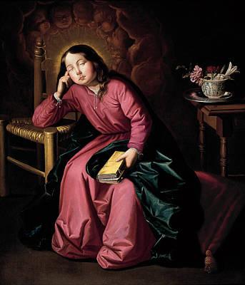 Zurbaran Painting - The Child Virgin Asleep by Francisco de Zurbaran