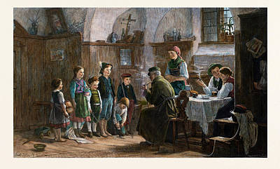 Table Cloth Drawing - The Children And The Uncle, 1842-1908 by Austrian School