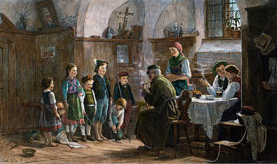 Table Cloth Drawing - The Children And The Uncle. Studied In Vienna And Munich by Austrian School