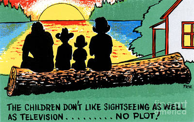 Drawing - The children don't like sightseeing as well as television.....NO PLOT by Eldon Frye