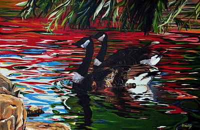 Canadian Geese Painting - The Chingcousy Lovers 1 by Henny Dagenais