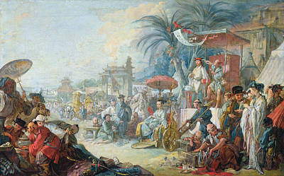 The Chinese Fair, C.1742 Oil On Canvas Art Print by Francois Boucher