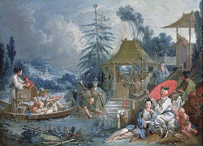 The Chinese Fishermen, C.1742 Oil On Canvas Art Print by Francois Boucher