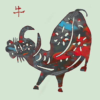Goat Mixed Media - The Chinese Lunar Year 12 Animal - Ox Pop Stylised Paper Cut Art Poster by Kim Wang