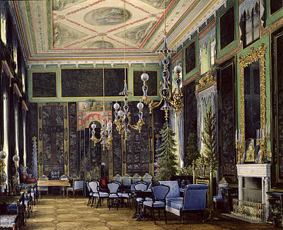 The Chinese Room In The Great Palais In Tsarskoye Selo Wc, Gouache And Ink On Paper Print by Eduard Hau