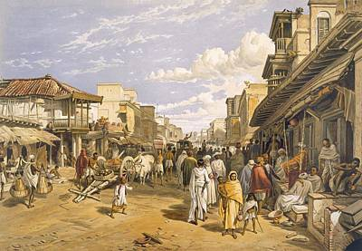 Urban Scenes Drawing - The Chitpore Road, From India Ancient by William 'Crimea' Simpson