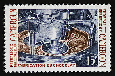 Tropical Stamps Photograph - The Chocolate Factory Vintage Postage Stamp by Andy Prendy