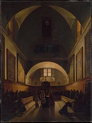 Marius Painting - The Choir Of The Capuchin Church In Rome by Fran�ois Marius Granet