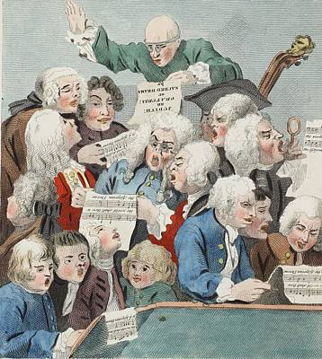 Singer Drawing - The Chorus Or Rehearsal Of The Oratorio by William Hogarth