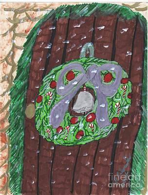 The Christmas Door Wreathe Art Print