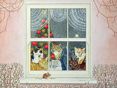 Funny Cat Painting - The Christmas Mouse by Ditz