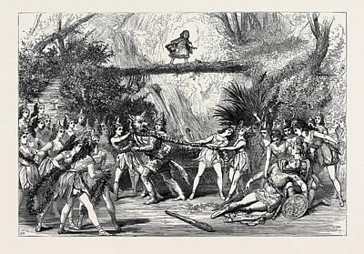 Garden Scene Drawing - The Christmas Pantomimes Scene From Red Riding Hood by English School