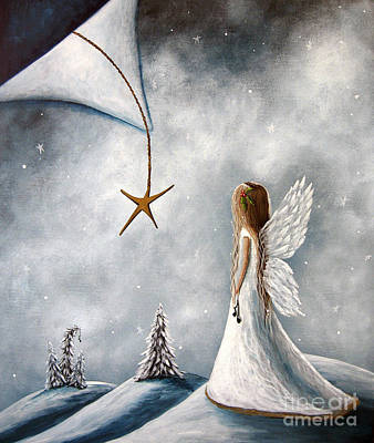Cherub Painting - The Christmas Star Original Artwork by Shawna Erback