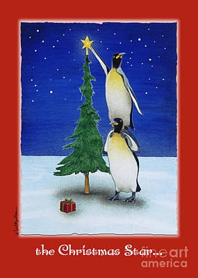 Penguin Painting - the Christmas star by Will Bullas