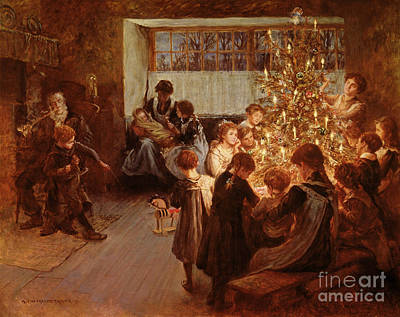 Gathering Painting - The Christmas Tree by Albert Chevallier Tayler