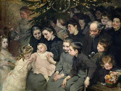 Baby In Basket Painting - The Christmas Tree At The Dispensary by Henri Jules Jean Geoffroy