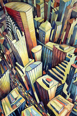 Crowd Scene Painting - The Chrysler Building by Charlotte Johnson Wahl
