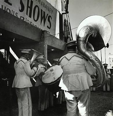 Wind Instrument Photograph - The Chubby Circus Band by Toni Frissell