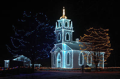 Photograph - The Church - Alight At Night. Upper Canada Village by Rob Huntley