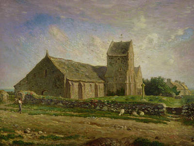 Field. Cloud Painting - The Church At Greville by Jean-Francois Millet
