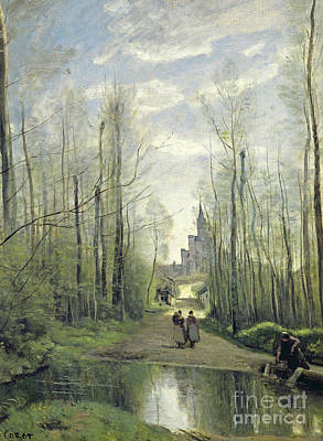 Nature Scene Painting - The Church At Marissel by Jean Baptiste Camille Corot