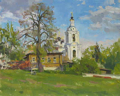 Lanscape Painting - The Church Spasa Za Verhom by Victoria Kharchenko