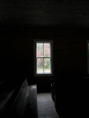 Green Cemetery Road Photograph - The Church Window by Kathy Long