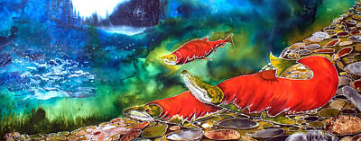 Salmon Painting - The Circle Of Life by Judy Swircenski