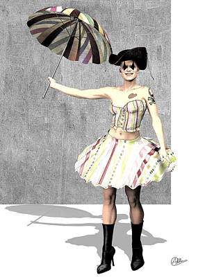 Cabaret Digital Art - The Columbine Circus by Quim Abella