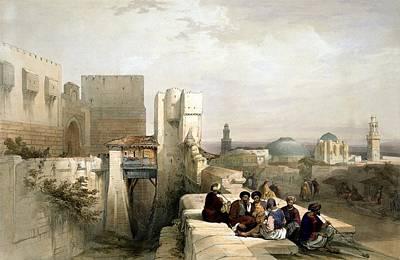 Holy Land Digital Art - The Citadel Of Jerusalem 1841 by Munir Alawi