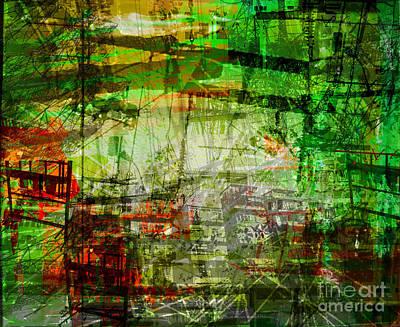 Telephone Poles Digital Art - The City 19 by Brandon Lynch