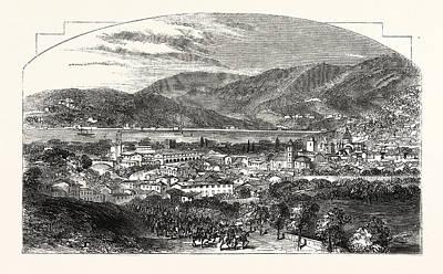Lake Como Drawing - The City And Lake Of Como by Italian School