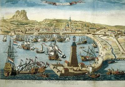The City And Port Of Barcelona 18th C Art Print by Everett