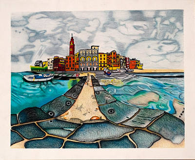 Drawing - The City By The Sea by Teri Schuster