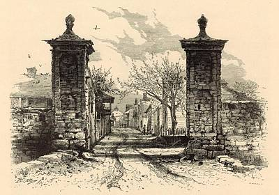 Horse And Buggy Drawing - The City Gate - St. Augustine 1872 Engraving By Harry Fenn by Antique Engravings