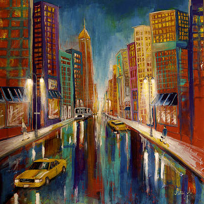City Scape Painting - The City  by Gray  Artus