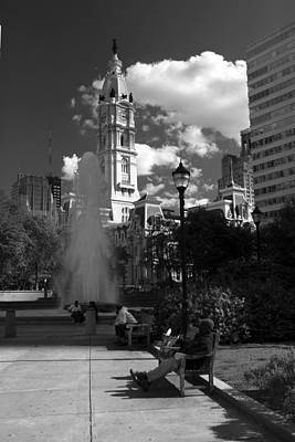Art Print featuring the photograph The City Hall Of Philadelphia In Black And White by Dorin Adrian Berbier
