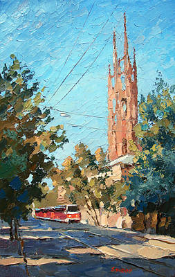 Tram Red Painting - The City In The Afternoon by Dmitry Spiros