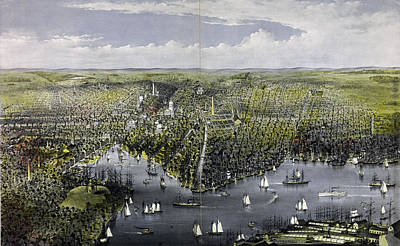 Baltimore Drawing - The City Of Baltimore, By Currier & Ives by Litz Collection