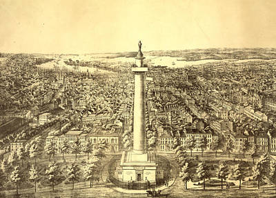 Washington Monument Drawing - The City Of Baltimore City by Litz Collection