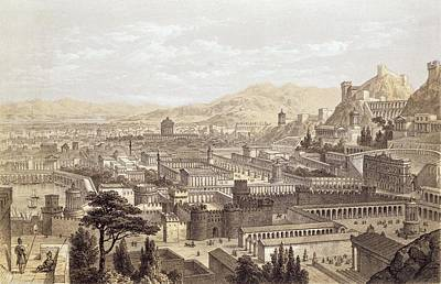 Mount Rushmore Drawing - The City Of Ephesus From Mount Coressus by Edward Falkener