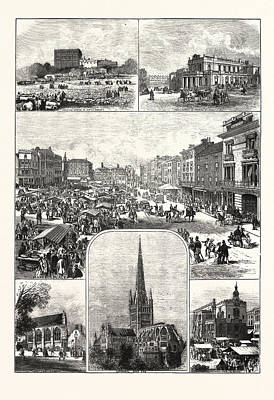 European City Drawing - The City Of Norwich, Engraving 1876, Uk, Britain by English School