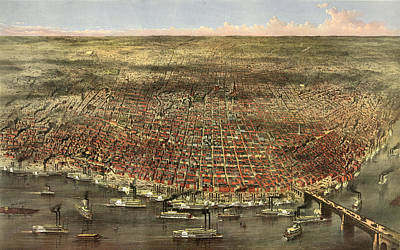 St. Louis Drawing - The City Of St. Louis By Currier & Ives by Litz Collection