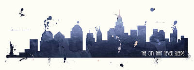 Nyc Skyline Painting - The City That Never Sleeps by Anna Quach